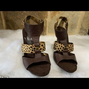 Nine West Brown animal print sandals